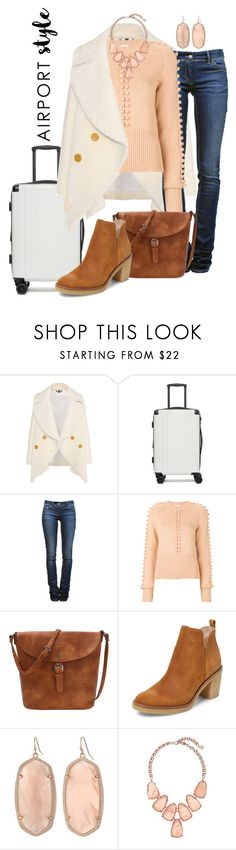 """Just Peachy"" by bigskydreams ❤ liked on Polyvore featuring Burberry, CalPak, Étoile Isabel Marant, Chloé, Firth, Kendra Scott and airportstyle"