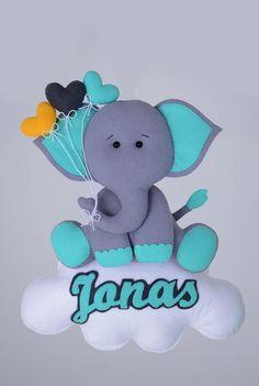 colgante: nube, elefante, nombre, corazones