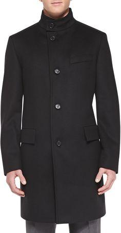 Boss Hugo Boss Wool-Cashmere Overcoat, Black