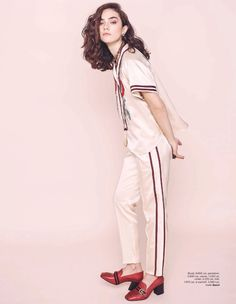 Rocking pajama dressing, Ada Tache wears Gucci blouse, pants and loafers