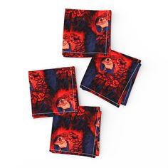 Meet the Frizzle cloth cocktail napkin set of 4 adorable Cotton Canvas, Cotton Fabric, Cocktail Napkins, Napkins Set, Natural Texture, Spoonflower, Parrot, Color Pop, Indigo