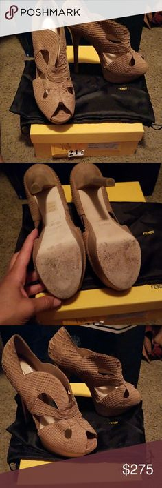 *Price Drop* Like New Fendi Tan Super High Heels Worn once purchased from Fendi in NYC tan heels. I'm a new mom so I won't be wearing these and need to clear out space. Comes with box and dust bag. Fendi Shoes Heels
