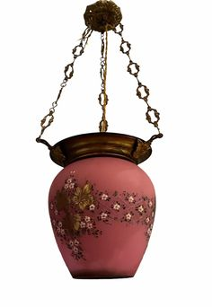 Excited to share this item from my #etsy shop: Rare ArtNouveau Vintage Opaline Pink, Gold Decorative Lantern, Italian Hand Painted Pendant Light, Wiring Compatible USA, Free Shipping