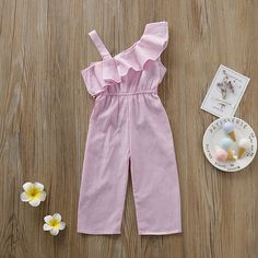 Genlei Toddler Baby Girl Sleeveless Ruffled Shoulder Stripe Romper Bowknot Jumpsuit Bodysuit Kids Outfit Pink Clothes - My Website 2020 Girls Summer Outfits, Dresses Kids Girl, Little Girl Outfits, Girls Dresses Sewing, Dresses Dresses, Wedding Dresses, Summer Dresses, Girls Frock Design, Baby Dress Design