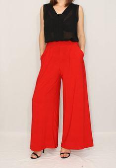fc8e3ddfe082 Retro Style Red High Waist Wide Leg Pants – Unique Vintage | Nymph ...