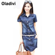 Find More Dresses Information about S XXXXXL Women Casual Denim Dress Plus Size Vintage Jeans Dresses Short Sleeve 2015 Fashion Female/Ladies Summer Spring Clothing,High Quality dress new,China dresses fashion Suppliers, Cheap dresses evening dresses from Oladivi Group - Minabell Fashion Store on Aliexpress.com