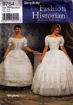Sewing Pattern for Historic Crinoline And Petticoat Size 14 Bust: 36 cm) Waist: 28 cm) Hips: 38 cm) Size 16 Bust: 38 cm) Waist: 30 cm) Hips: 40 cm) Size 18 Bust: 40 cm) Waist: 32 cm) Hips: 42 cm) Size 20 Bust: 42 cm) Waist: 34 cm) Hips: 44 cm) Costume Patterns, Dress Patterns, Sewing Patterns, Clothing Patterns, Historical Costume, Historical Clothing, Simplicity Fashion, Civil War Fashion, Civil War Dress