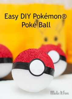 Pokémon® Go Poké Ball craft - easy DIY for party decor, games and more! #makeitfuncrafts