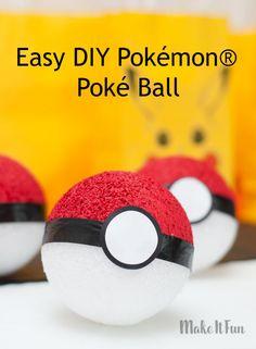 Pokémon® Go Poké Ball craft - easy DIY for party decor, games and more! #makeitfuncrafts