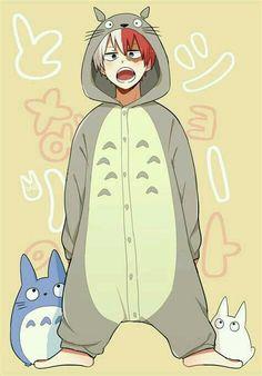 Todoroki Shouto (Cross-over! My Neighbor Totoro) Boku No Hero Academia, My Hero Academia Memes, Hero Academia Characters, My Hero Academia Manga, Anime Boys, Manga Anime, Fanarts Anime, Anime Demon, Hot Anime