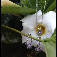 "18KGP Purple Crystal Ball Necklace & Earrings This set is so pretty and fun at the same time  The hoop earrings are gorgeous! Chain is 16"" and extends to an 18"" Jewelry Earrings"