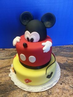 Happy Birthday.... - I made this cake for a friends baby's first birthday, she said she was having a Mickey themed party so this is what I came up with.. all BC covered with MMF ears are MMF/Gumpaste.  I was a big hit.