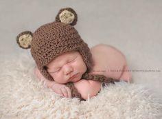 Newborn Boy Hat Brown Bear Photography Prop Crochet, Baby Knit Boy or Girl Photo Prop Bear Beanie on Etsy, $24.00