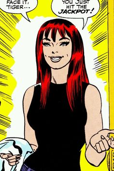 Spider-Man 42.  This was the final panel of the story and the readers' first view of Mary Wayne Watson's face. Mary Jane was the niece of Aunt May's neighbor, and the two aunts had long schemed on a  fix-up.  Peter had resisted the blind date for a long time, little knowing what she looked like.