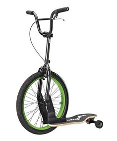 A scooter, skateboard and bike—all in one! The Sbyke can stand upright without the need for a kickstand, and it has a fixed-position front wheel that's lightweight and fitted with a high-pressure racing tire. It's made from aircraft-grade materials that are built to last, and the two interchangeable stem lengths accommodate different-sized riders. The handlebars include a hand brake, and the wide deck caters to side-by-side foot placement for easy cruising.