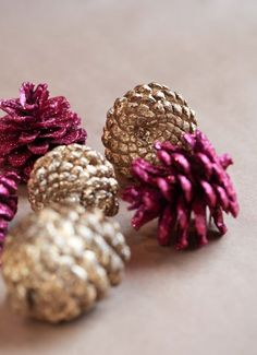 diy glitter and gold leaf pine cones