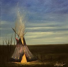 """Indian Teepee Oil Painting, Western landscape art by Ryan Herrin. """"Silent Fire"""", original oils on cotton."""