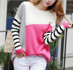 Women's Color Block Sweater with Stripped Sleeve