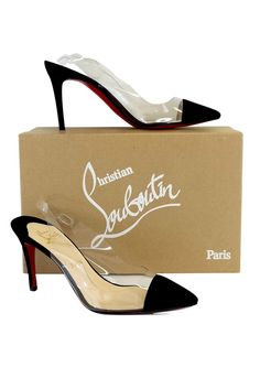 Christian Louboutin- Black Suede Clear Slingback Heels Sz 7.5 | Current Boutique