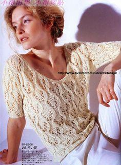 Crochet y dos agujas: Blusa de verano tejida con dos agujas / palillos