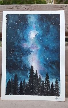 40 Excellent But Simple Pastel Watercolor Paintings To Try This Year - Free Jupiter - Nicole J. - 40 Excellent But Simple Pastel Watercolor Paintings To Try This Year – Free Jupiter - Watercolor Night Sky, Night Sky Painting, Watercolor Galaxy, Galaxy Painting, Watercolor Drawing, Painting & Drawing, Pastel Watercolor, Watercolor Ideas, Watercolor Landscape