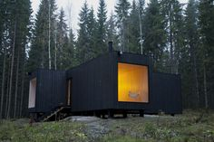 Dr. Knudsen hired Avanto, an architecture firm in Helsinki, to build this 800 sq ft house. Spruce exterior painted black.