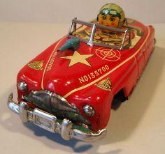 Tin Friction Early 1950s Hudson Car w Driver Yoshiya KO Japan | eBay