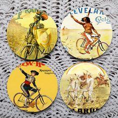 Biker Boys  Vintage Advertising Mousepad Coaster set coasters by Polkadotdog