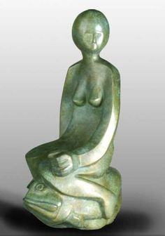 #Bronze #sculpture by #sculptor Mark Yale Harris titled: 'Princess and Fish (Girl on Fish stylised statuette)'. #MarkYaleHarris