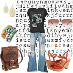 peace love & rock n roll, created by kathyborie7 on Polyvore