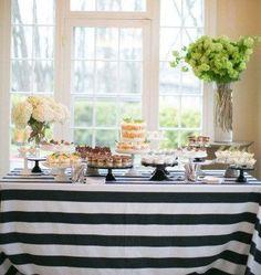 lovemyfabric Cotton 2 Inch Black & White Stripes Tablecloth for Wedding/Bridal Shower, Birthdays, Special Events Black White Stripes, Black And White, Bar A Bonbon, Dessert Buffet, Dessert Tables, Cake Table, Table Linens, Table Settings, Place Settings