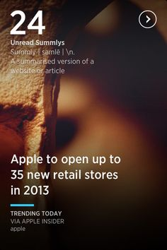 Summly App. Nice splash page! Love the right-karat button and the blue bar to differentiate title and subtitle.