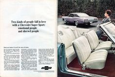 1965 Chevrolet Impala Super Sport Advertisement Newsweek April 5 1965 (by SenseiAlan) 1965 Chevy Impala, Chevrolet Impala, Car Advertising, Ads, Chevy Girl, People Fall In Love, Super Sport, Buick, Cool Cars