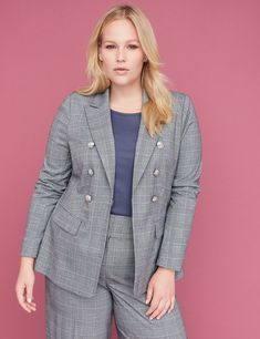 c6b3d159532 Bryant Blazer - Double Breasted Plaid Tailored Stretch Lane Bryant