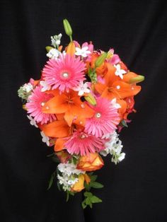 Hot pink and orange cascade with tons of bling!!
