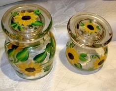 hand painted sunflower storage jars