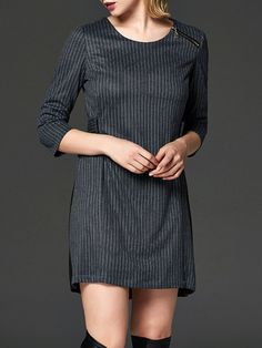 #StyleWe Shop LILITH A PARIS Dresses - Gray Stripes 3/4 Sleeve Polyester Mini Dress online. Discover unique designers fashion at AdoreWe.net.