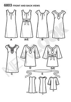 Womens Easy Dresses, Tunics Pattern 6803 New Look Patterns