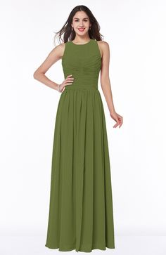 995751dbd937 Olive Green Bridesmaid Dress - Elegant A-line Sleeveless Zipper Chiffon  Plus Size Maxi Black