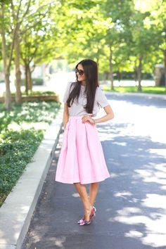pink midi #tibi #skirt, gray top, heels. #Summer street women fashion @roressclothes closet ideas