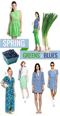 Spring Greens + Blues  so fresh! love it