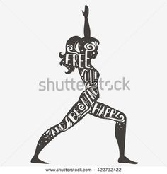 Free your mind and be happy. Motivational and inspirational Sport/Fitness illustration. Lettering. For print on T-shirt and bags, yoga studio or fitness club. - stock vector