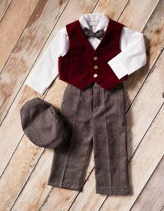 Toddler and Little Boy Holiday Burgundy Vest Set  Come with a newsboy cap, bow tie and a white shirt to complete the outfit! Super cute, vintage feel outfit for Christmas for toddler and little boys!