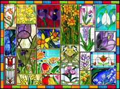 Spring in stained glass - very large (336 pieces)