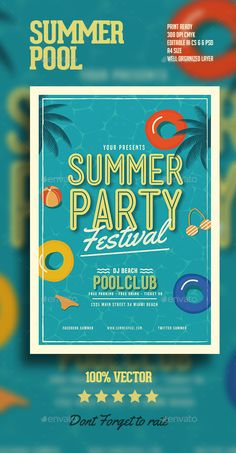 Summer Pool Party Flyer Template PSD, AI Illustrator. Download here…