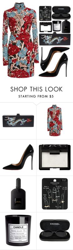 """""""CNY"""" by mariimontero ❤ liked on Polyvore featuring Edie Parker, Elie Saab, Christian Louboutin, NARS Cosmetics, Tom Ford, Topshop, H&M and Chanel"""