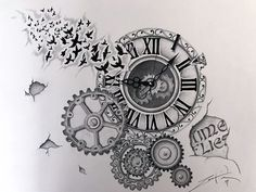 This is the first piece in my time collection. I used a prismacolor pencil and a prismacolor ink pen. It is a very detailed piece of art. Time Flies Tattoo, Steampunk Clock, Prismacolor, Pencil Drawings, Black And Grey, Art Pieces, Ink, Tattoos, Artist