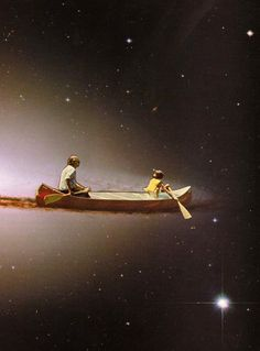Row Row Row Your Boat Gently Down the Stars ~ artist BeautifulUrself  #art #paper #collage