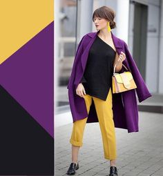 Purple and yellow color combinations. Yellow Color Combinations, Colour Combinations Fashion, Color Combinations For Clothes, Fashion Colours, Colorful Fashion, Color Schemes, Lila Outfits, Purple Outfits, Colourful Outfits