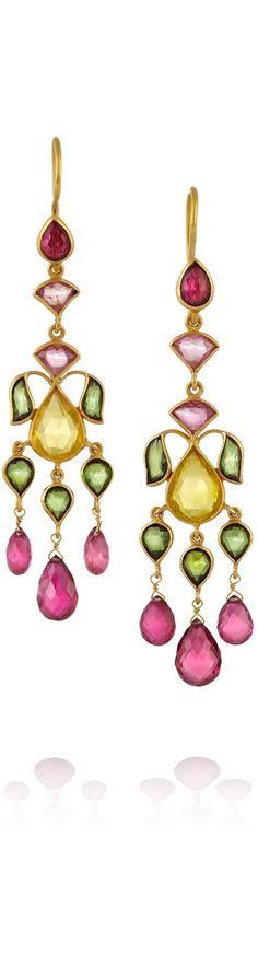 {MUNNU 22-karat gold tourmaline earrings} {ht}